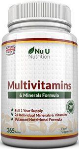 Multivitamins & Minerals Formula – 24 Vitamines et Minéraux - Végétarien - Homme/Femme - Cure d'1 An/365 Comprimés - Compléments alimentaires de Nu U Nutrition